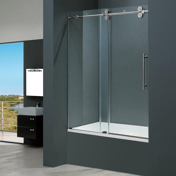 Vigo 60 inch clear glass frameless tub sliding door for Sliding glass doors tub