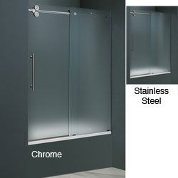 Vigo 60 Inch Frameless Frosted Glass Sliding Tub Door Today 1