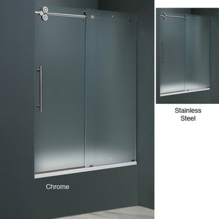 Vigo 60-inch Frameless Frosted Glass Sliding Tub Door
