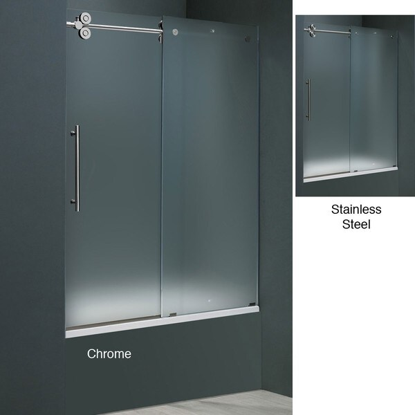 Vigo 60 Inch Frameless Frosted Glass Sliding Tub Door 12642139