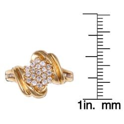 Sterling Essentials 14K Highly Polished Gold-over-Silver Cubic Zirconia Cluster Ring