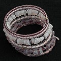 Handmade Five-turn Wire and Purple Glass Bead Bangle (India)