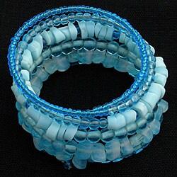 Handmade Five-turn Wire and Turquoise Glass Bead Bangle (India)