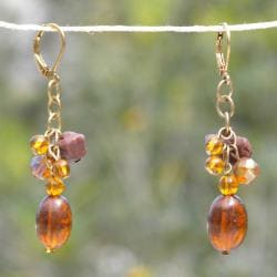 Bronze Wire and Brown Mixed Glass Bead Earrings (India)