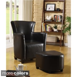 Single-seat Bicast Leather Chair and Ottoman Set