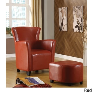 Furniture of America Single-seat Bicast Leather Chair and Ottoman Set