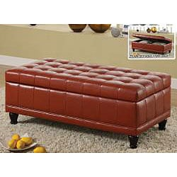 Furniture of America Espresso Flip-top Bicast Leather Storage Bench