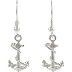Sterling-silver Anchor Dangle Earrings with Hook-style Back Clasps