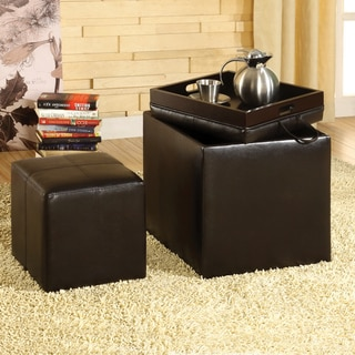 Furniture of America Espresso Bicast Leather Ottoman Flip-top Set