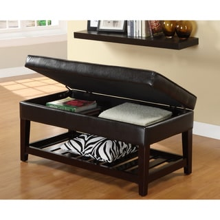 Furniture of America Espresso Finish Bicast Storage Bench