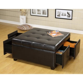 Furniture of America Jeef Contemporary Espresso Faux Leather Ottoman