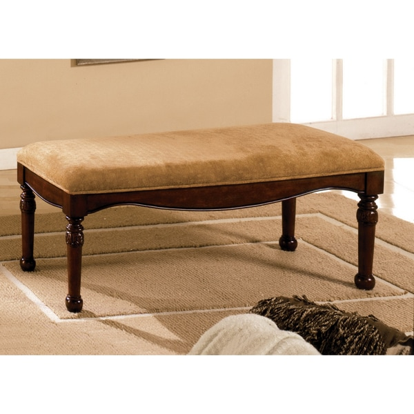 Furniture of America Hand-carved Wood and Deep Brown Velvet Padded Bench
