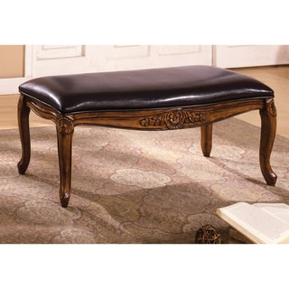 Antique Oak Finish and Bicast Leather Bench