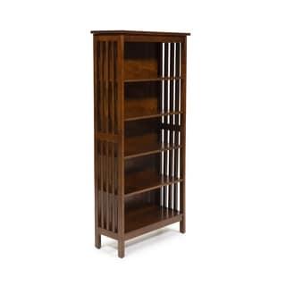 Furniture of America Oak Finish Solid Birch Frame Bungalow Media Shelf