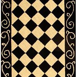 Hand-hooked Diamond Black/ Ivory Wool Runner (2'6 x 14')