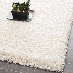 Safavieh Plush Super Dense Hand-woven Honey White Premium Shag Rug (8' Square)