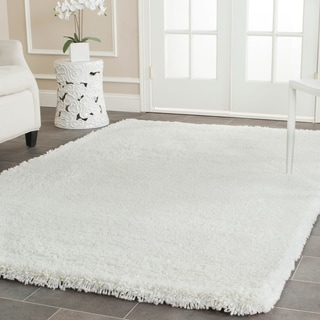 Safavieh Plush Super Dense Hand-woven Honey White Premium Shag Rug (6' x 9')