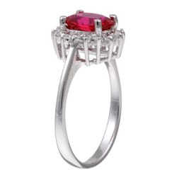 Sterling Essentials Sterling Silver Oval Red Cubic Zirconia Ring