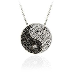 DB Designs Sterling Silver Black Diamond Accent Yin-yang Necklace