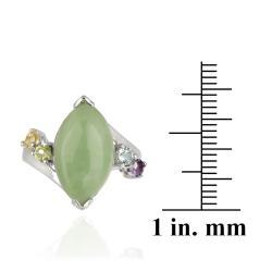 Glitzy Rocks Sterling Silver Green Jade and Multi-gemstone Ring