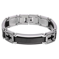 Stainless Steel Men's Two-tone Black Ion-plated Cross Bracelet