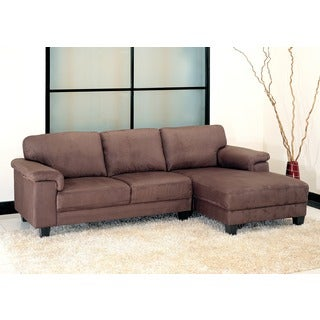 Abbyson Living Capri Dark Brown Microsuede Sectional Sofa