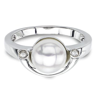 DaVonna Sterling Silver White FW Pearl and White Topaz Size 7 Ring (8-8.5 mm)