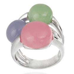 Glitzy Rocks Sterling Silver Multi-colored Jade Bubble Ring