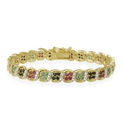 Glitzy Rocks 18k Gold over Silver Multi-gemstone and Diamond Bracelet