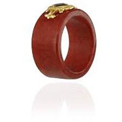 Glitzy Rocks 18k Gold/ Sterling Silver Red Jade and Garnet Ring