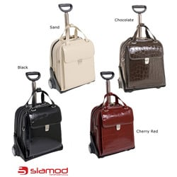 Siamod 'Novembre' Women's Leather Detachable Wheeled Laptop Case