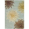 Handmade Soho Burst Blue New Zealand Wool Rug (2' x 3)