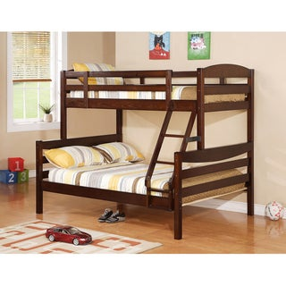 Solid Walnut Brown Wood Twin/ Double Bunk Bed