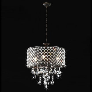 Antique Bronze 4-light Round Crystal Chandelier Sale: $175.49 $194.99 ...