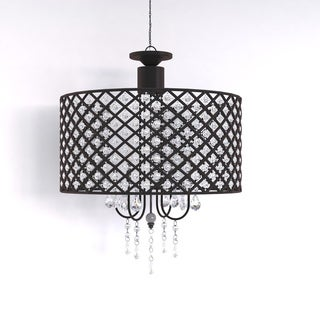Antique Black 4-light Round Crystal Chandelier