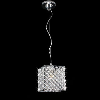Chrome/ Crystal 1-light Mini Pendant Square Chandelier