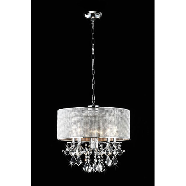 Silver Rhinestone Shade 5-light Round Crystal Chandelier