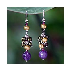 Silver Pearl and Amethyst 'Celebration' Cluster Earrings (Thailand)