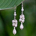 Sterling Silver 'Celebration' Pearl Cluster Hook Earrings (Thailand)