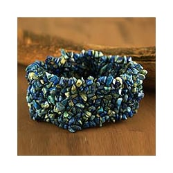 Handmade Lapis 'Mermaid Song' Stretch Bracelet (India)
