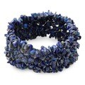 Mermaid Song Natural Uncut Polished Blue Lapis Lazuli Gemstone Womens Wide Stretch Bracelet (India)