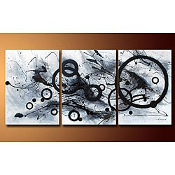 Hand-painted 'Abstract' 3-piece Gallery-wrapped Canvas Art Set