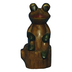 Wood-carved Sitting Frog with Black Hand-painted Details (Thailand)