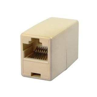 Compact Light Beige RJ45 Ethernet Connector Adapter
