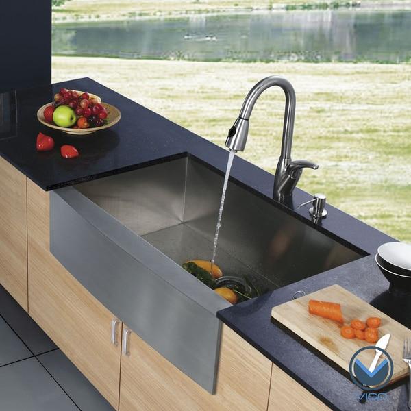 Vigo Farmhouse Stainless-Steel Kitchen Sink Dispenser and Single-Handle Faucet