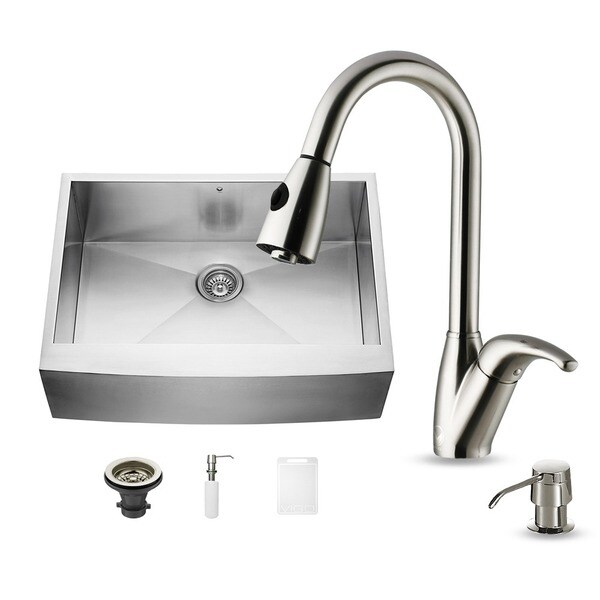 Vigo Farmhouse Stainless Steel Kitchen Sink Dispenser and Single Handle Fauce