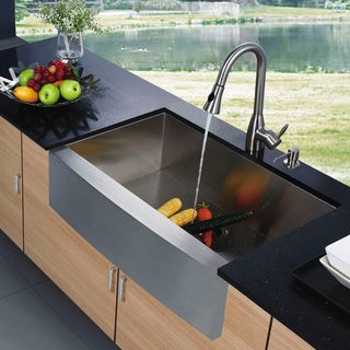 Vigo Farmhouse Stainless Steel Kitchen Sink with Faucet and Dispenser