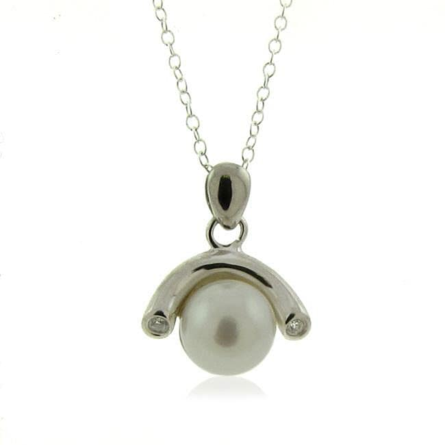 Silver White FW Pearl and White Topaz Drop Necklace (8-8.5 mm)