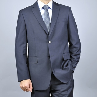 Men's Wool & Silk Blend Black 2-Button Suit