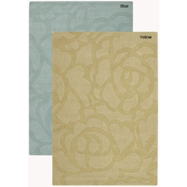 Hand-Tufted Transitional Multicolored Floral Mandara Wool Rug (7' x 10')